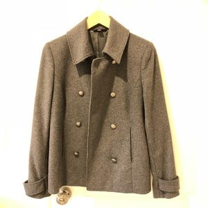Brooks grey double-breasted coat